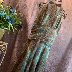 Donna Ricco Animal Print Silk Halter Dress